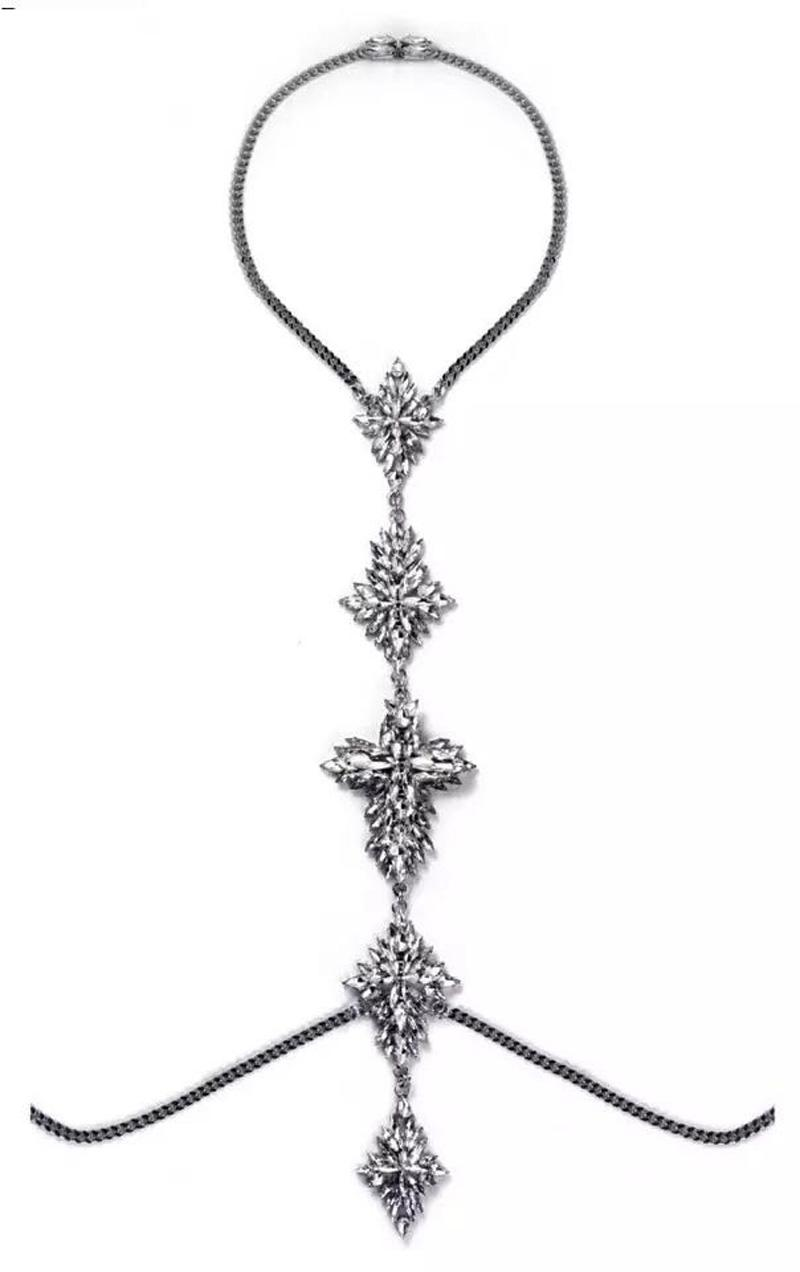 New Sexy multi Crystal Body Chains for Women Bikini body jewelry rhinestone Flower long Pendant Necklaces club party crossover belly chain