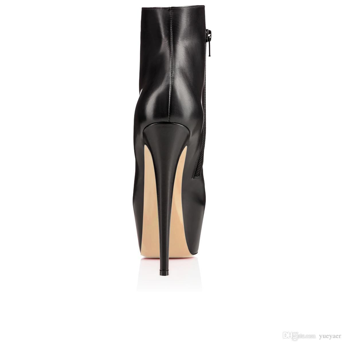 Karmran Kadınlar El Yapımı Moda Beif Ganimet 150mm Platformu Sıcak Stil Parti Elbise Yüksek Topuk Ayak Bileği Çizmeler Siyah Z70530