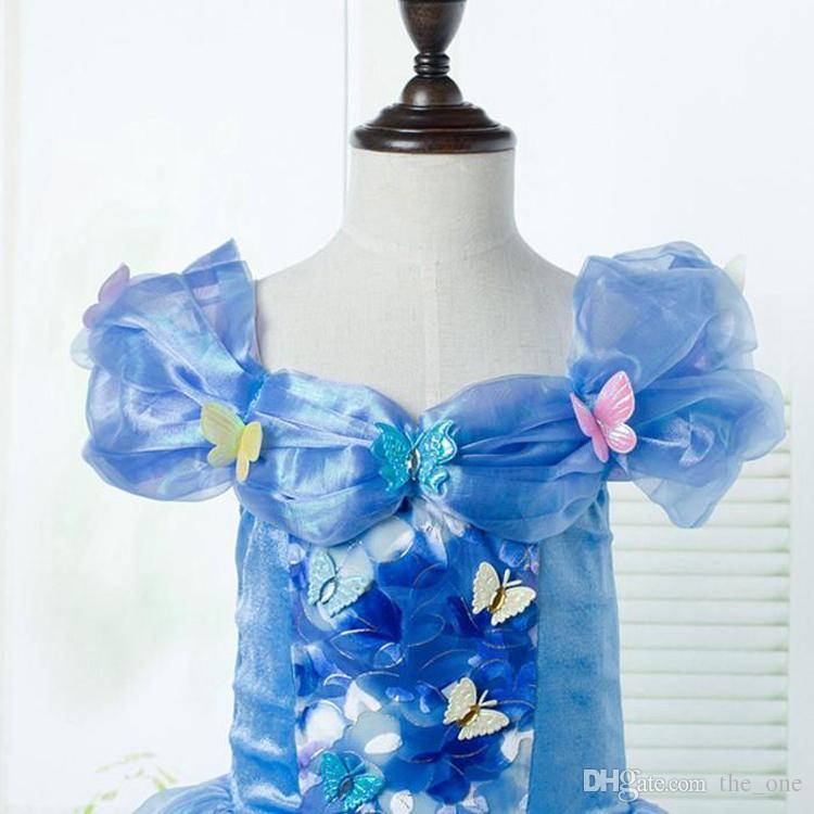 le ragazze cenerentola della farfalla vestono il vestito blu da compleanno del vestito dal vestito dalla ragazza dei bambini delle ragazze del vestito dalla sfera della principessa del partito trasporto libero