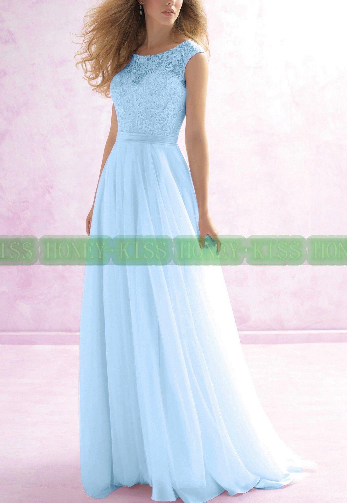 Brautjungfernkleider lange formale Spitze-Abend-Ballkleid-Partei-Abschlussball-Brautjungfern-Kleider schnüren sich Chiffon- Kleidbrautjungfernknickente