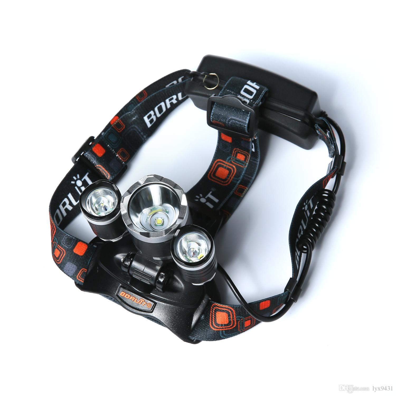 Boruit 6000LM 3x CREE XM-L T6 LED Headlight Headlamp RJ-3000 Head Headlamps Headlight Headlamp Head Lamp Light Torch USB Lamp Charge
