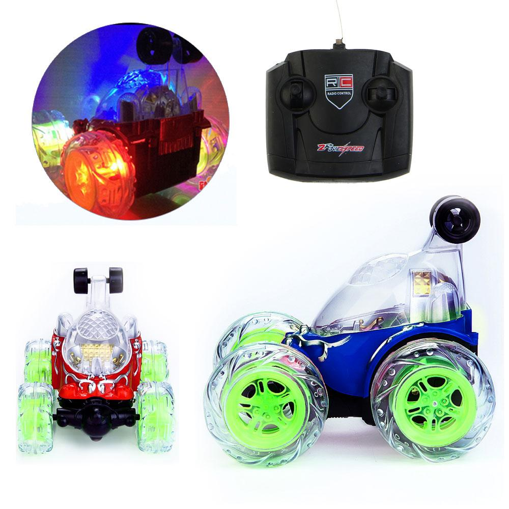 electric stunt car remote control dump car tumbling stunt car styling toy with flashing led light music kids toys for children radio remote control cars