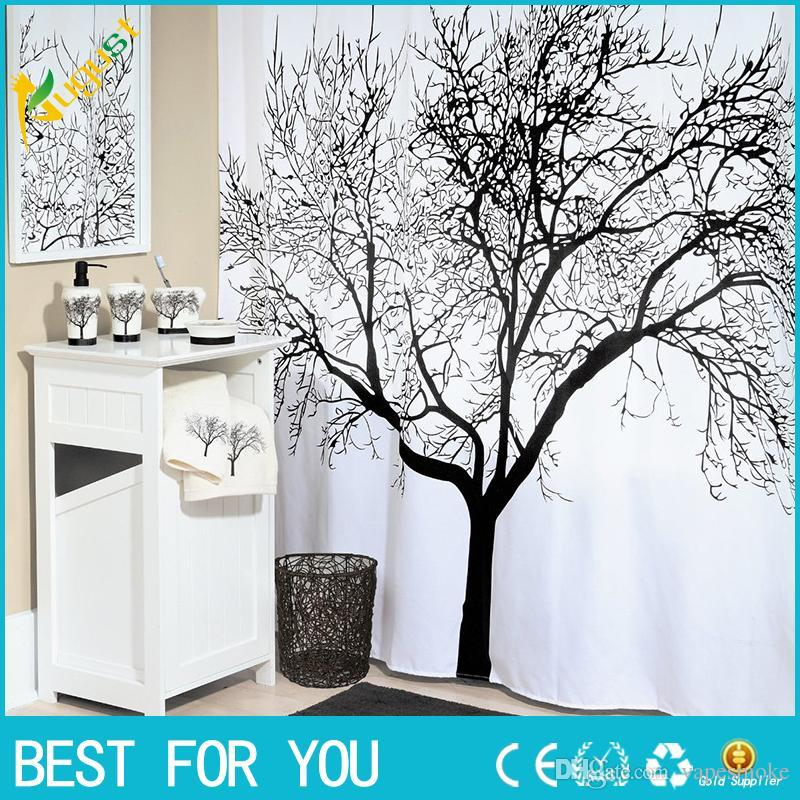 New Big Black Scenery Tree Design Bathroom Waterproof Fabric Shower