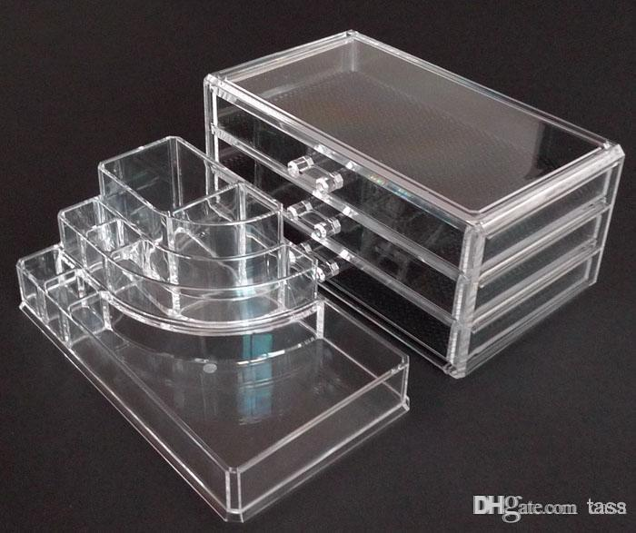 New Fashion Clear Acrylic Cosmetic Box Makeup Storage Organizer
