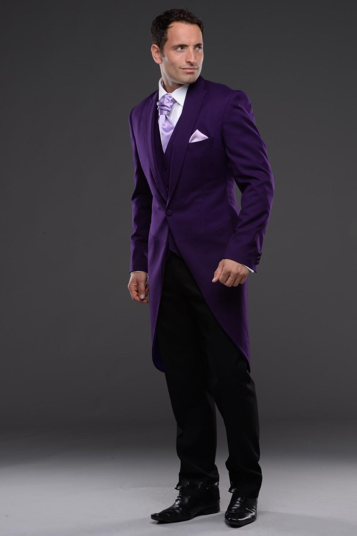 2016 Purple Tailcoat MenS Wedding Tuxedos Groom Suits For Mens Jacket Pants Vest Tie White Tux With Black Tuxedo