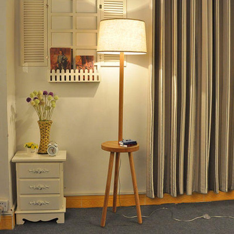 2018 Modern Creative Simple Style E27 Wood Fabric Floor Lamp Floor ...
