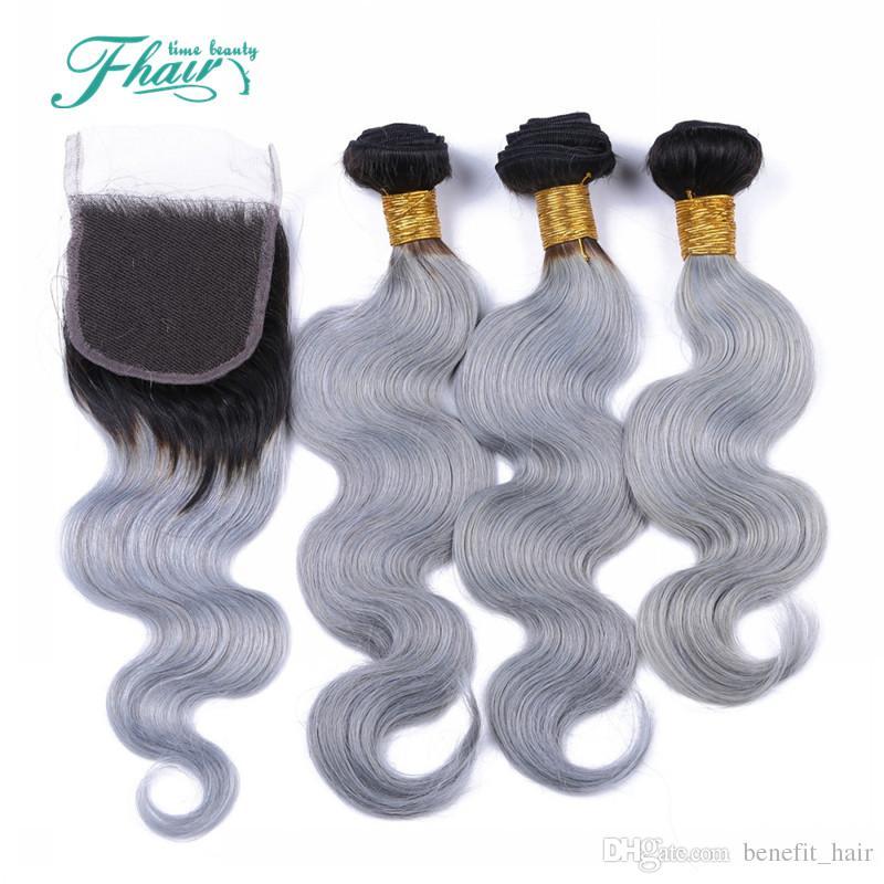 8A 1B/серый бразильский ломбер пучки волос с серебристо-серый кружева закрытия два тона цветные волосы ткать с закрытием объемная Волна 4 шт./лот