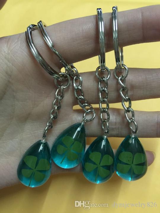 Freies Verschiffen 14 keychain Schmucksachen realer Kleeblatt blauer Tropfenschlüsselring