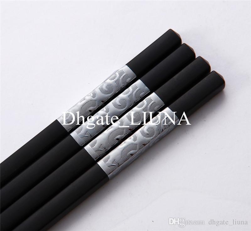 Luxuxwiederverwendbarer rutschfester chinesischer Art-Schwarz-Quadrat-Essstäbchen-Satz-schönes Geschenk 10.7 '' / 27cm