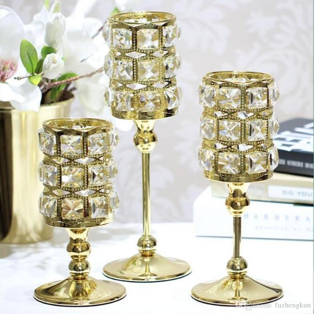 New Peculiar Metal Gold Single Candle Crystals Holder Wedding Table ...