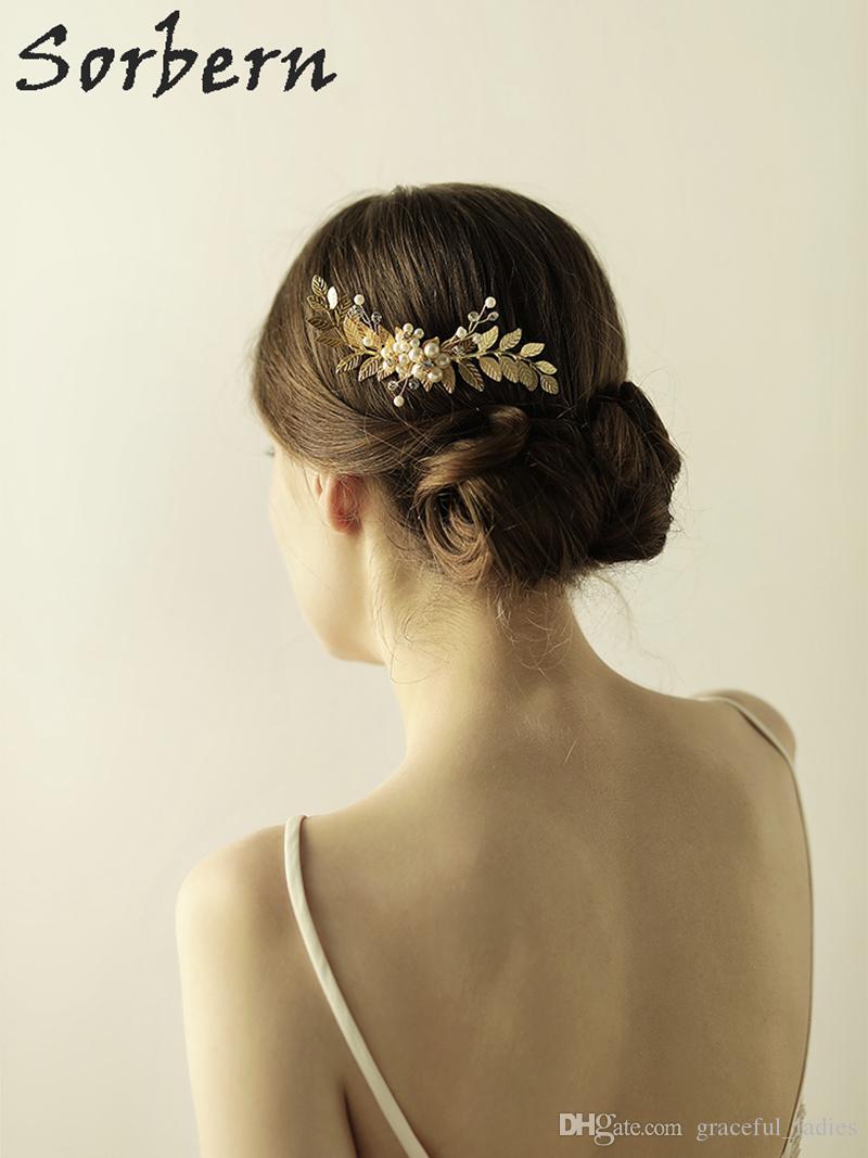 Sorbern Altın / Gümüş Saç Tarak Gelin Tiara Düğün Saç Aksesuarları Gelin Saç Combs Bantlar Başlığı Süs Parti Kafa Takı