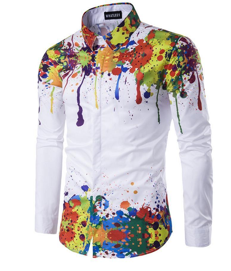 Hemd des Druck-3D Männer Schulter- und Saumteil-Tintendrucken bedeckte Knopf-Entwurfs-lange Hülse drehen unten den Kragen-dünnen Sitz für die Hemden der Männer