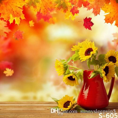Red Flower Vase Autumn Sunflower 5x7ft Vinyl Photography Backdrops Photo Studio Photographic Background For Children Wedding Outside Decorations