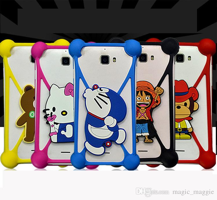 Cheap Price Universal Silicone Bumper TPU Soft 3D Characters Cartoon Bumper Crossover Bumper with Kickstand for Iphone Samsung Xiaomi