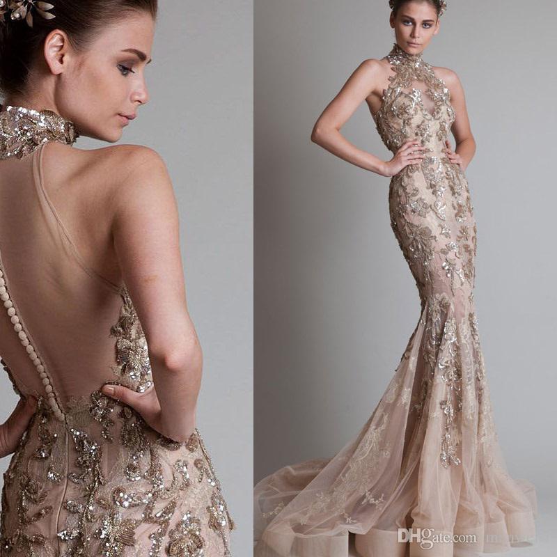 High Neck Mermaid Abendkleider Ärmellose Spitze Applique Pailletten Turmpet Abendkleider Sweep Zug Ellie Saab Formal Party Dress