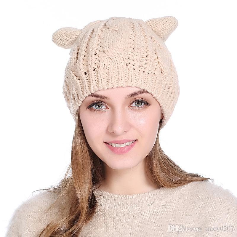 Women Winter Woolen Knitting Beanie Devil Horns Cat Ear Crochet Braided Knitted  Cap Noverlty Girls Hat Mens Beanies Custom Beanies From Tracy0207 68fb5fab7904