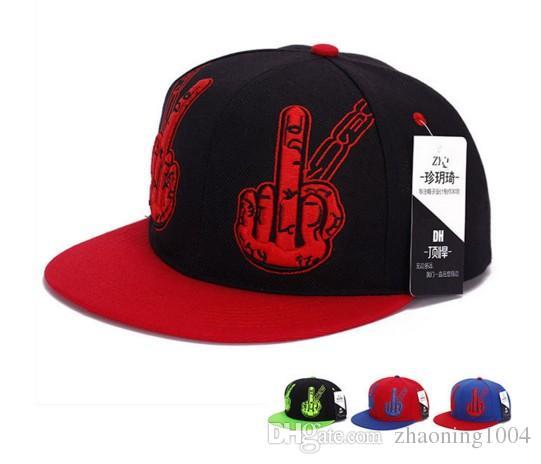 Designer Beef Fingers 3D Embroidery Hip Hop Hats Skull Flat Brimmed Ball Cap  Adjustable Snapback Sports Man Sun Visor For Adult Mens Womens Custom Hat  Caps ... 5944fed0e514