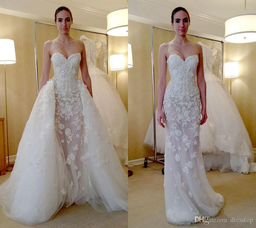 Fashion Zuhair Murad Overskirt Wedding Dresses Mermaid Sweetheart Neckline With Detachable Train Lace Trumpet Bridal Gowns Mature