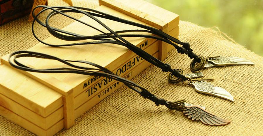 HOT SELL - Adjustable Retro Antique Vintage Angel Wing Feather Men's Leather Necklace Charms Pendants