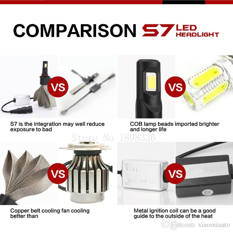 2 teile / para S7 Auto Auto LED H1 H3 H7 H11 880 9005 9006 6400LM CREE Led-scheinwerfer Kit Strahler Birnen Hallo / Lo Strahl 60 Watt 6000 Karat Weiß