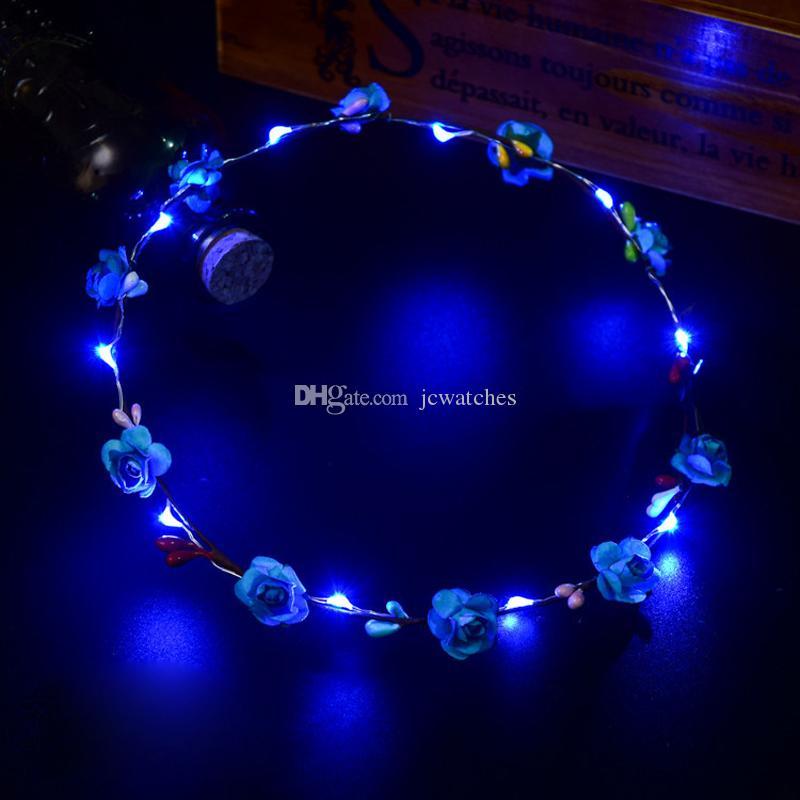 Colorful LED lampeggiante capelli fascia del fiore Luce Floreale Garland Corona Wedding ragazza delle donne Accessori capelli