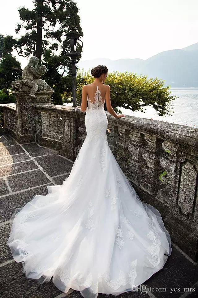 2017 Nueva Sexy Sirena Moderna Vestidos de Novia de Cuello de Ilusión Apliques de Encaje Tren de Corte Sheer Back Back Tulle Plus Size Formal Bridal Dres