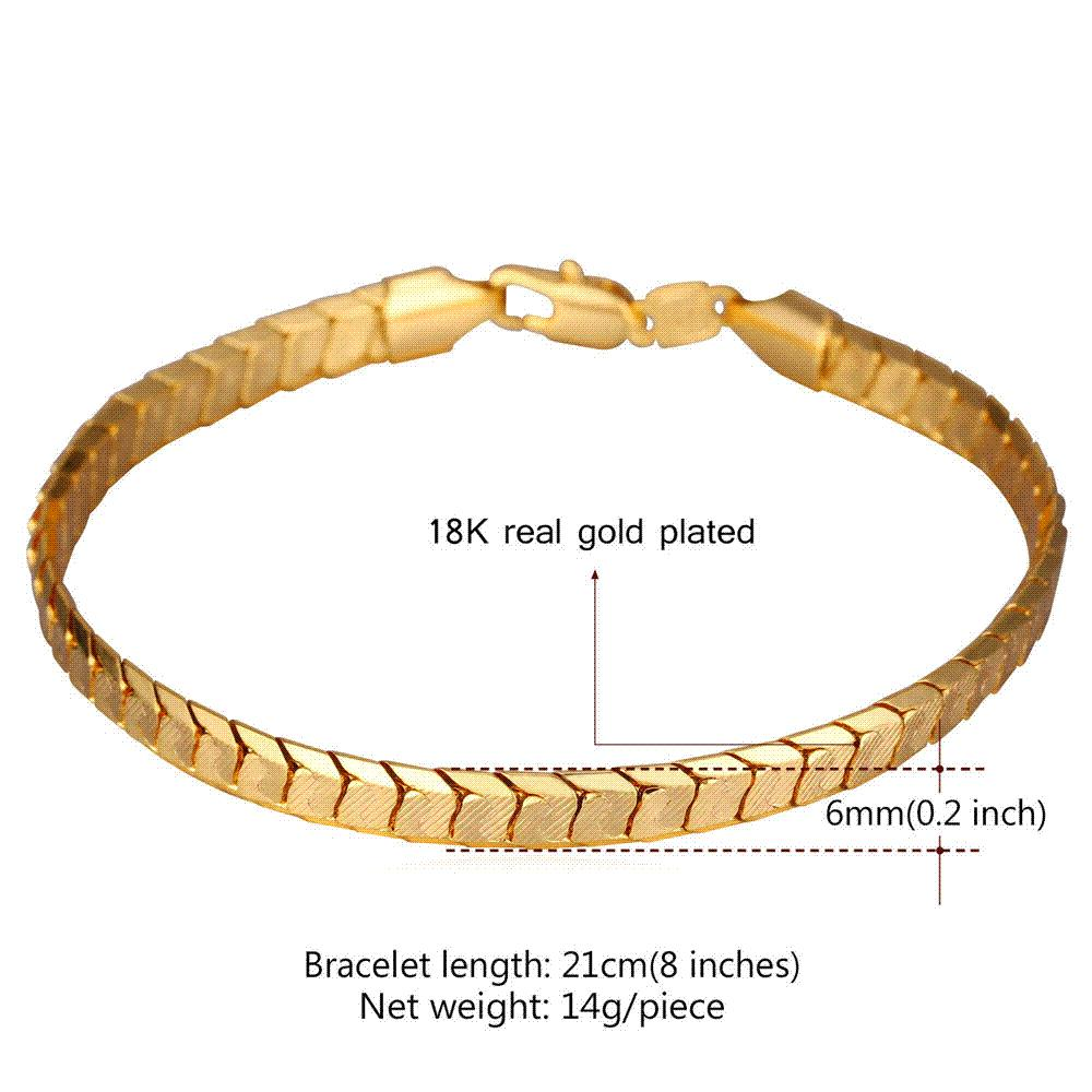 U7 Scale Chain Bracelets For Men Jewelry 18k Real GoldPlatinum