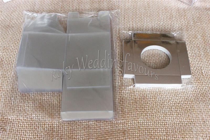 9X9X9CM Bomboniere Favor Holder Clear PVC CupCake Box with Paper Insert Party Package Supplies