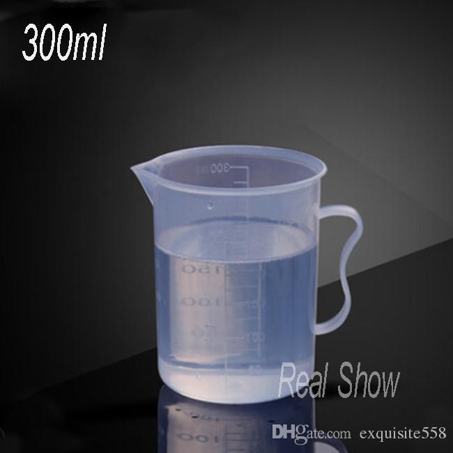 Envío gratis 300 ml taza de medir, taza de plástico PP barato, buena calidad, 300 ml con escala taza de medición al por mayor