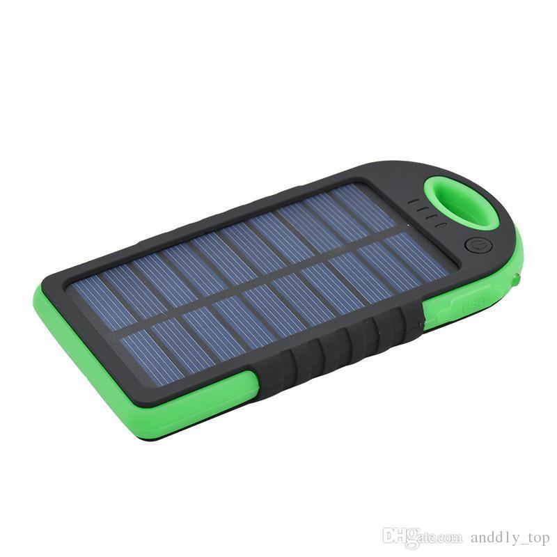 5000mAh banque énergie solaire anti-choc étanche anti-poussière batterie externe portable de Powerbank solaire pour tous Smart Phone