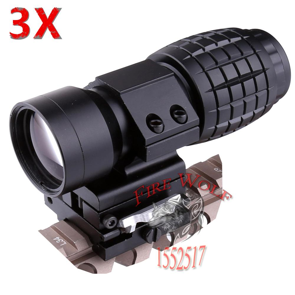 2017 Red Dot Sight Scope 3x Magnifier Quick Flip Scope