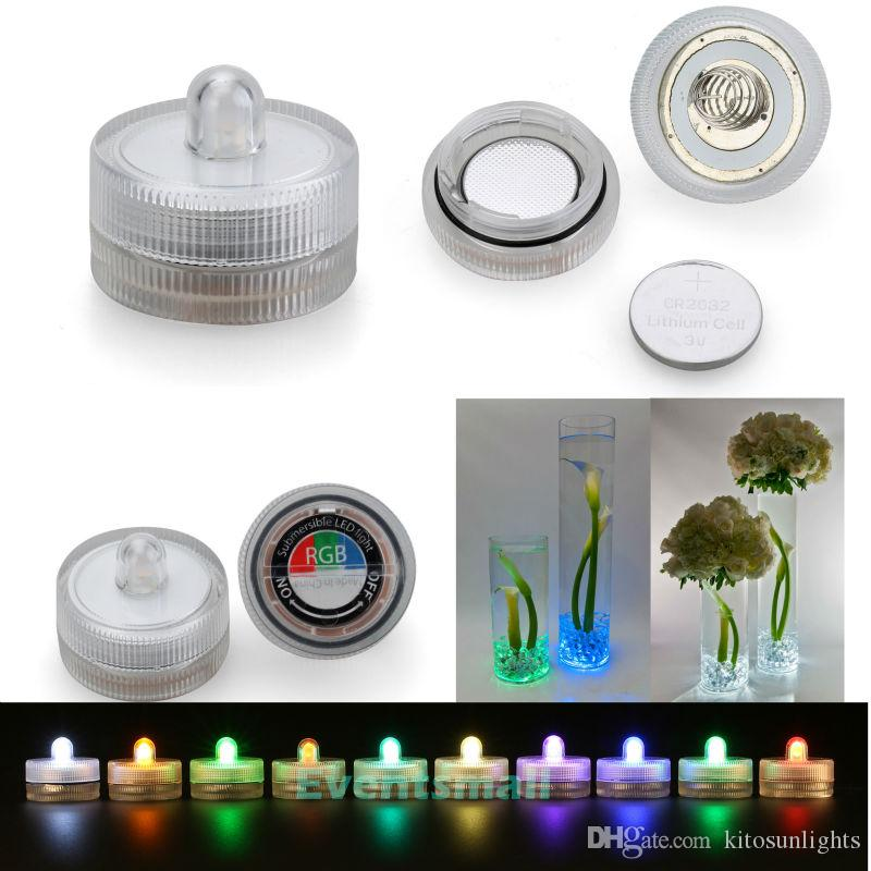 / 2 Replaceable CR2032 Battery Powered Waterproof Submersible LED Underwater Tea Light For Vases