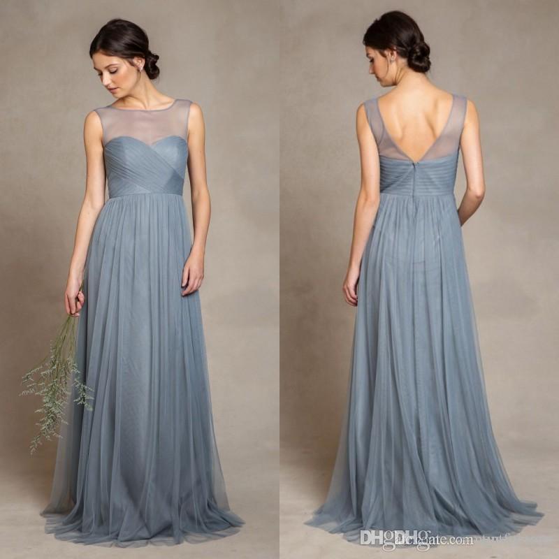 Robes de demoiselle d'honneur bleu poussiéreux élégant 2019 illusion bateau encolure plis corsage une ligne longueur de plancher tulle robes de soirée