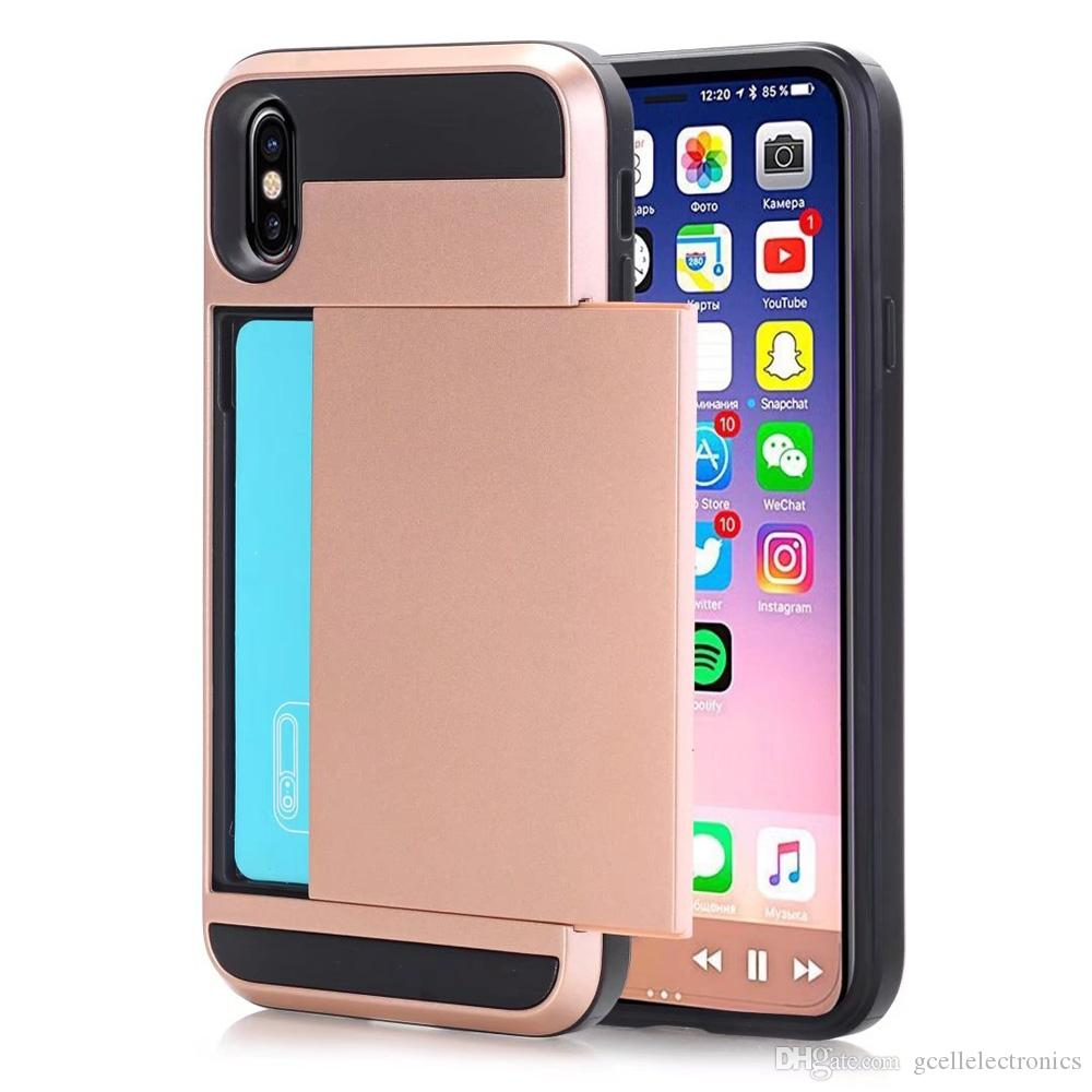 buy online fe64c e7768 Slide Card Holder Cell Phone Cases For Iphone XS Max XR Samsung Galaxy S10  Plus S10e J6 J7 2018 Hard Hybrid Back Covers Buy Cell Phones Cell Phone ...
