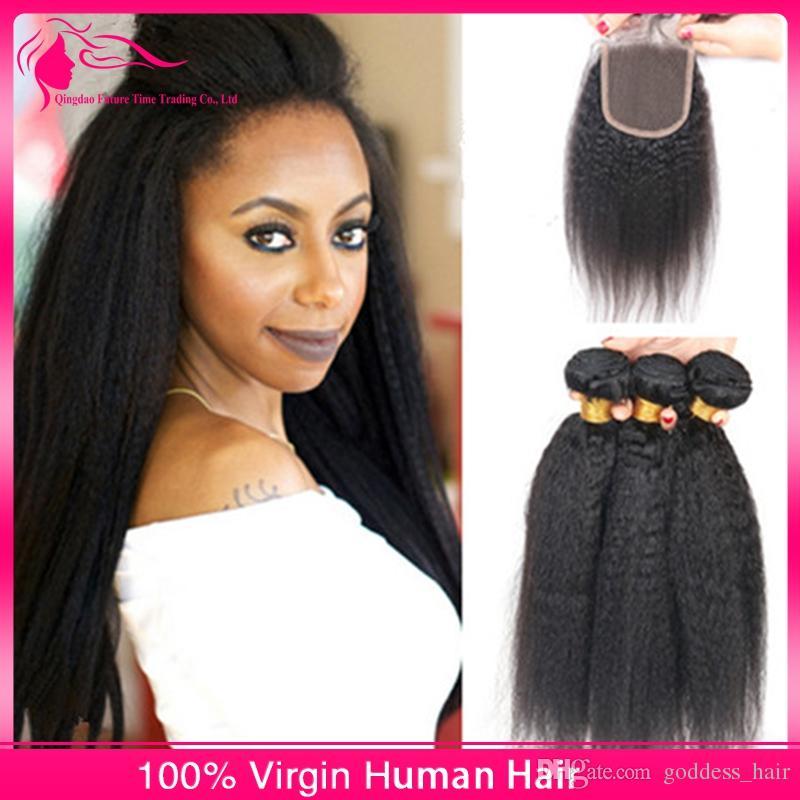 El pelo humano recto brasileño rizado 9A con el pelo grueso de Yaki del closing teje con el cierre para el precio barato de la mujer negra