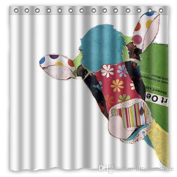2018 Funky Cool Collage Pasteup Art Cow Design Shower Curtain Size 180 X Cm Custom Waterproof Polyester Fabric Bath Curtains From Littemanthree