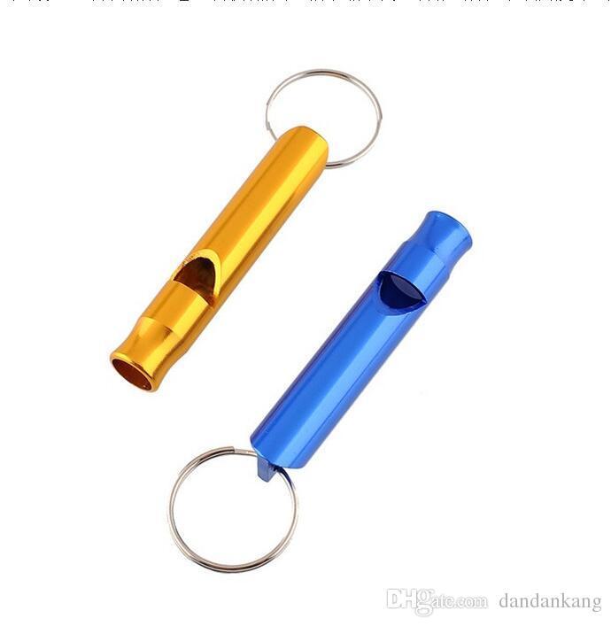 sonido de alta colorido del metal silbato de emergencia de seguridad con llave de rescate anillo de acampar al aire libre silbido de la supervivencia en busca de ayuda de Halloween silbato de juguete de los niños