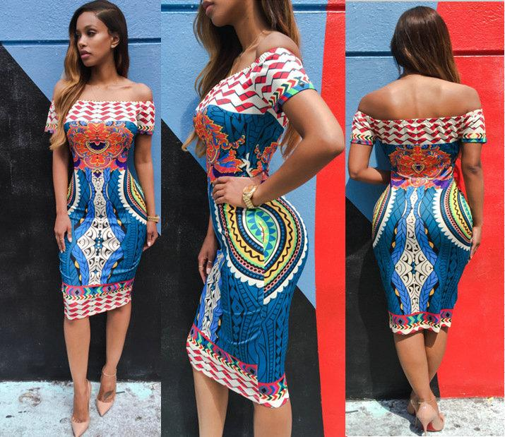 2f76935ab846 2017 New African Fashion Designed Women Traditional African Print Dashiki  Bodycon Sexy Short Sleeve Off Shoulder Dress New Boho Vestidos Women Print  Dashiki ...