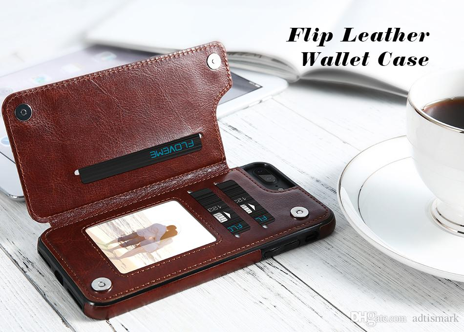 Luxury Wallet Case For iPhone 6 6S Plus X Bracket Type Leather Card Holder Kickstand Flip Back Cover For iPhone 7 7 Plus