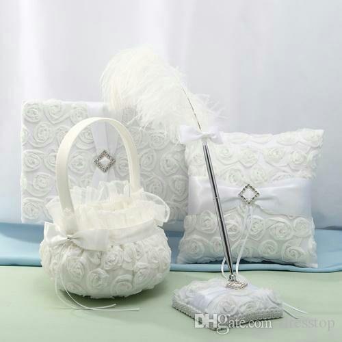 Off White 3D Rose Flowers Guest Books And Pen Sets Rhinestone Ring Pillow Flower Basket Garter For Wedding Favors