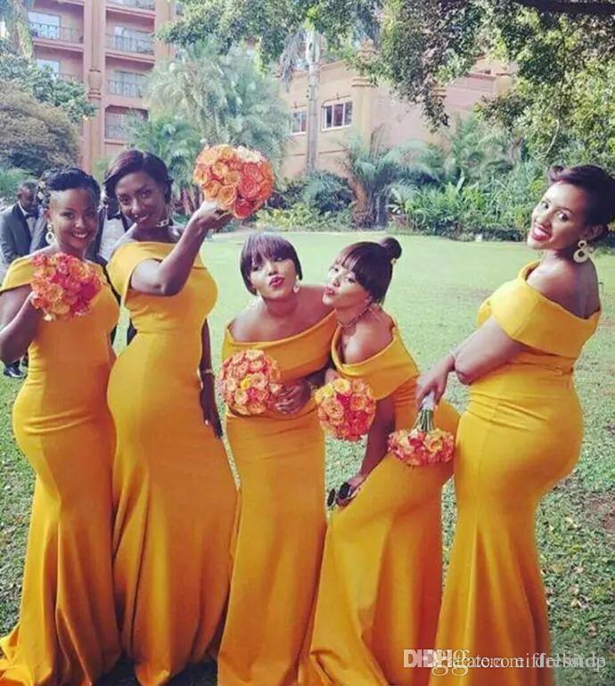 Afrikanische Narzisse Chiffon Schulterfrei Meerjungfrau Brautjungfer Kleider Lange Bescheidene Hochzeitsfeier Gast Kleid Nach Maß
