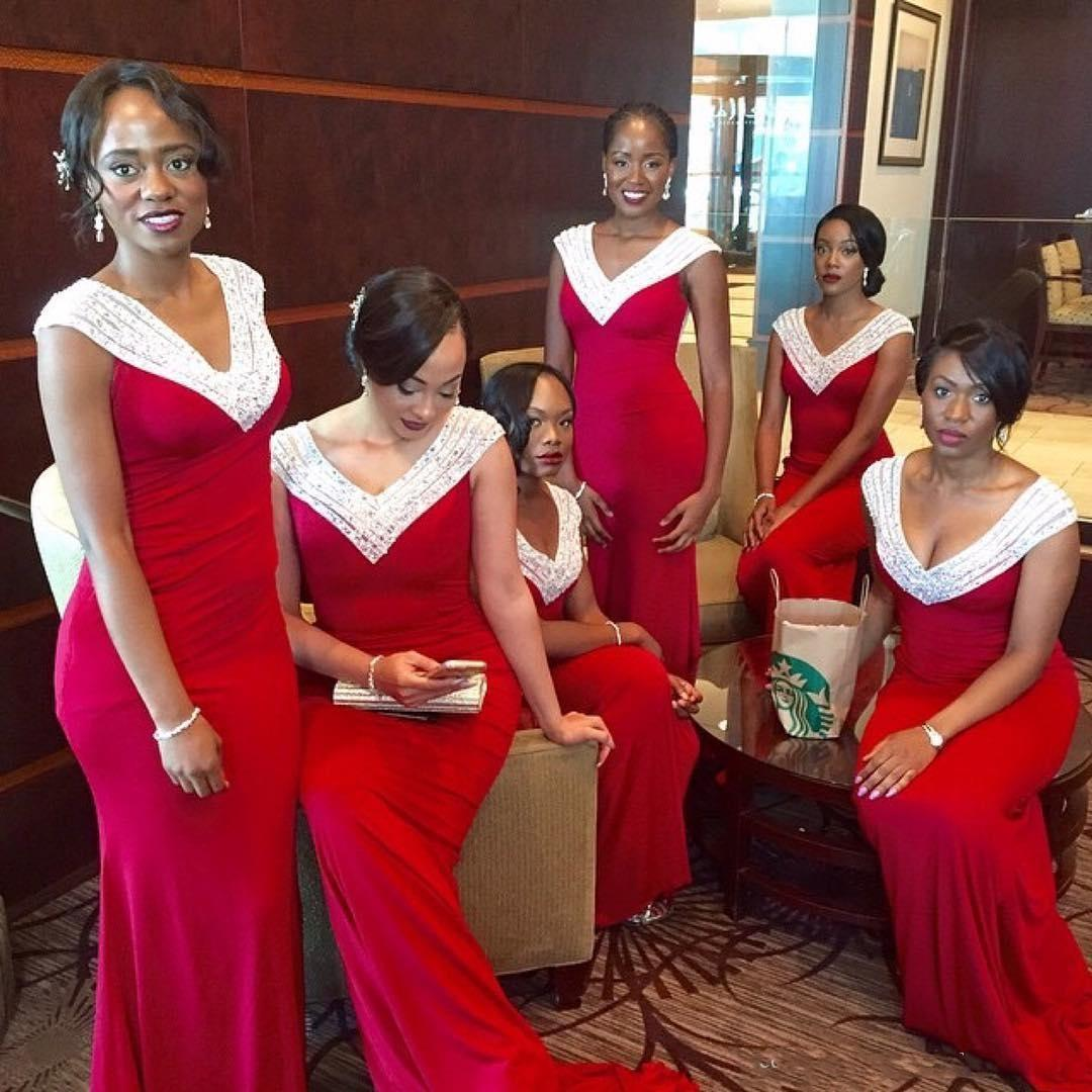 Red and white south africa style bridesmaid dresses 2016 v neck red and white south africa style bridesmaid dresses 2016 v neck mermaid maid of honor gowns black girl long prom party dresses cheap modest bridesmaid ombrellifo Image collections