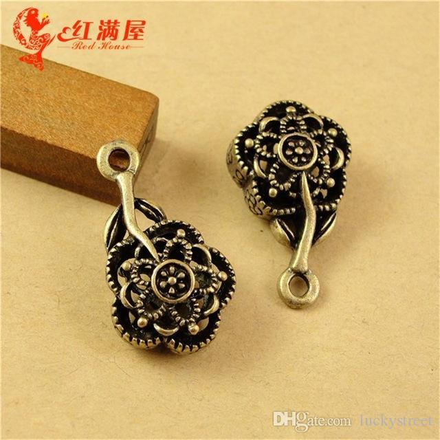 A2295 15*26MM Antique Bronze The new DIY hollow retro 3D rose filigre flower charm pendant beads, Korean Chinese jewelry copper charms