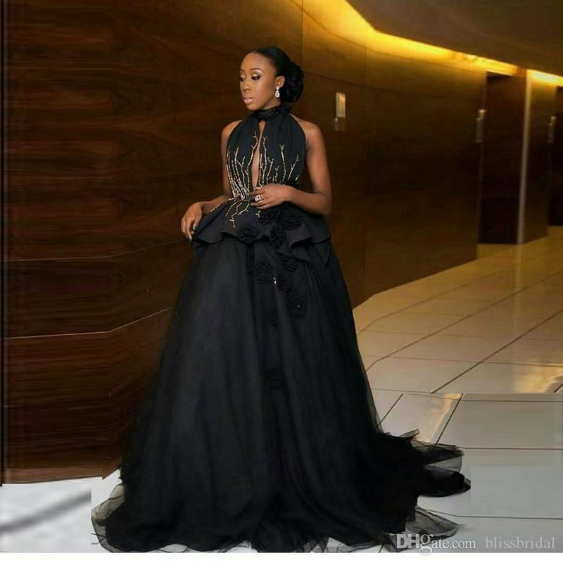 2017 New Arrival Black High Neck Evening Dresses Sexy Keyhole Ruffles Prom Gown Floor Length Backless Red Carpet Dress