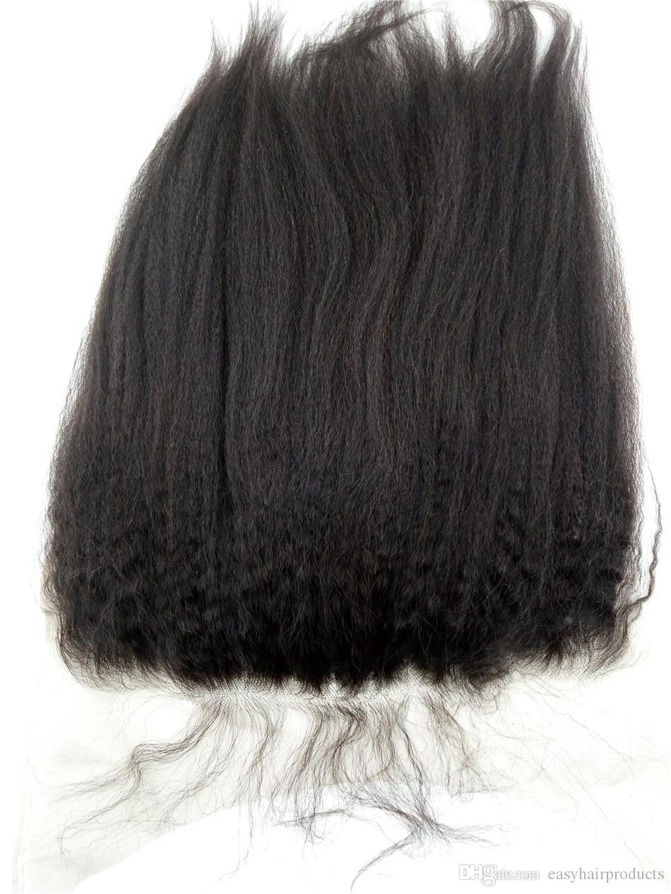 3 bundles With 13X6 Lace Frontal Closure Free Middle Three Part Malaysian Virgin Hair Kinky Straight Lace Frontal With Baby Hair G-EASY