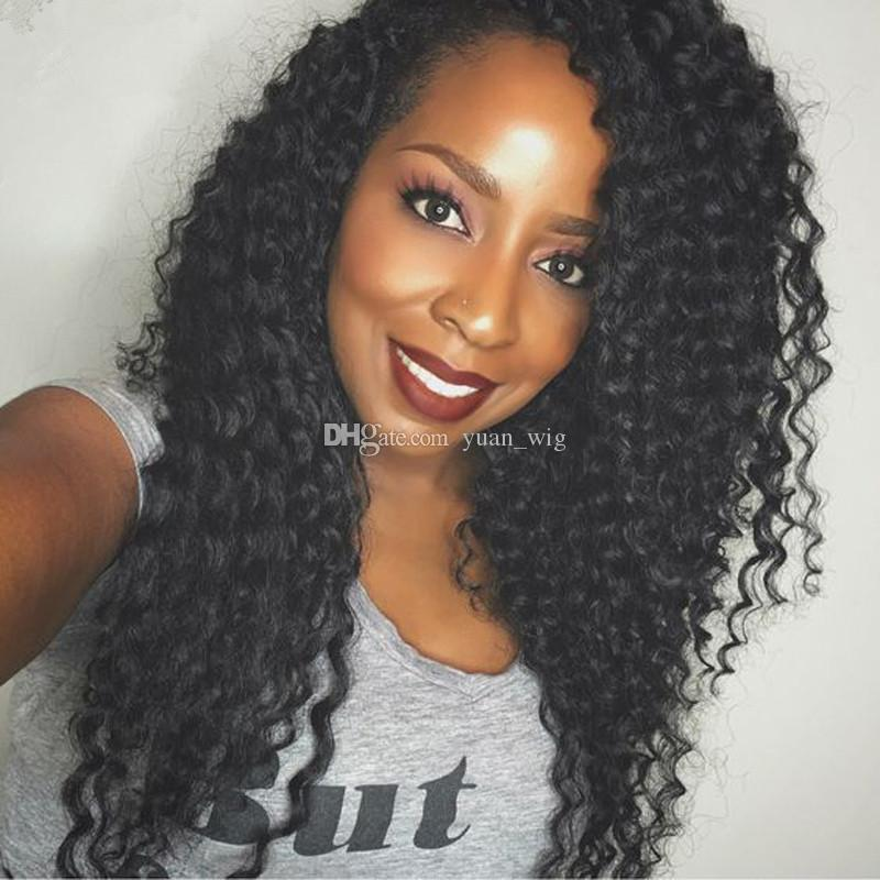 Best brazilian deep curly human hair wigs lace front wigs virgin glueless curly full lace wigs for black women 130%density