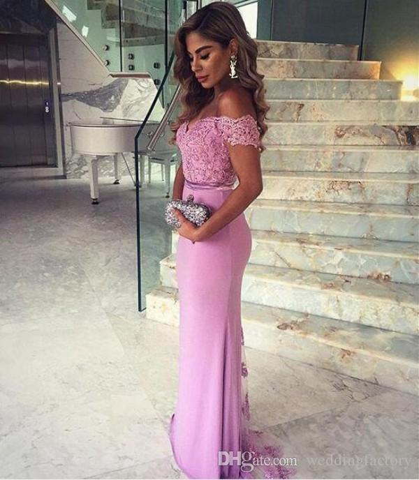 Elegante venda quente lilás blush blush champagne feito sob encomenda feita longa dama de honra vestido laço apliques top fora da dona de ombro de vestidos de honra trem
