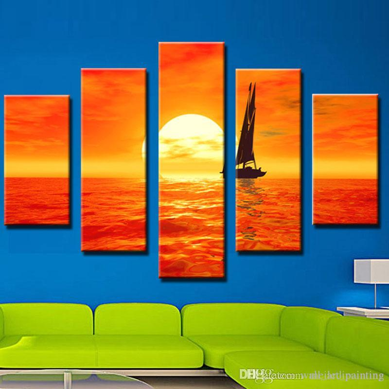 Großhandel 5 Bild Kombination Kunst Gemälde Set Segel