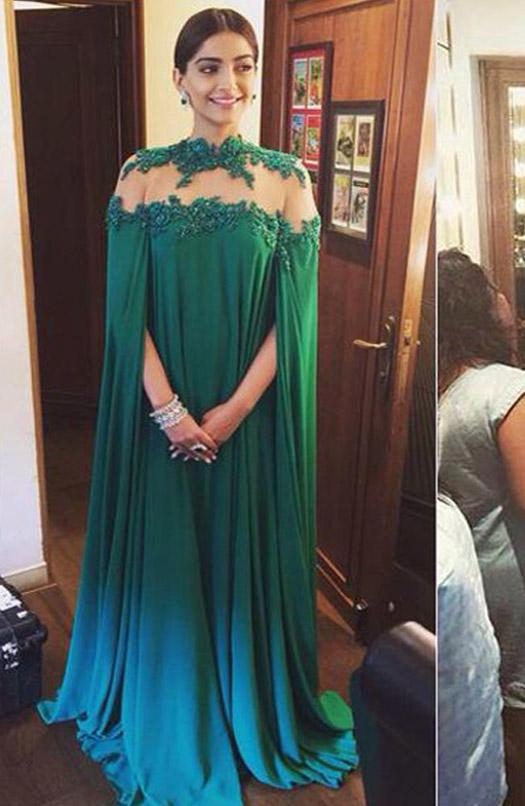 Sonam Kapoor Evening Dress Cheap 2016 Green Color Chiffon Long Wraps ...