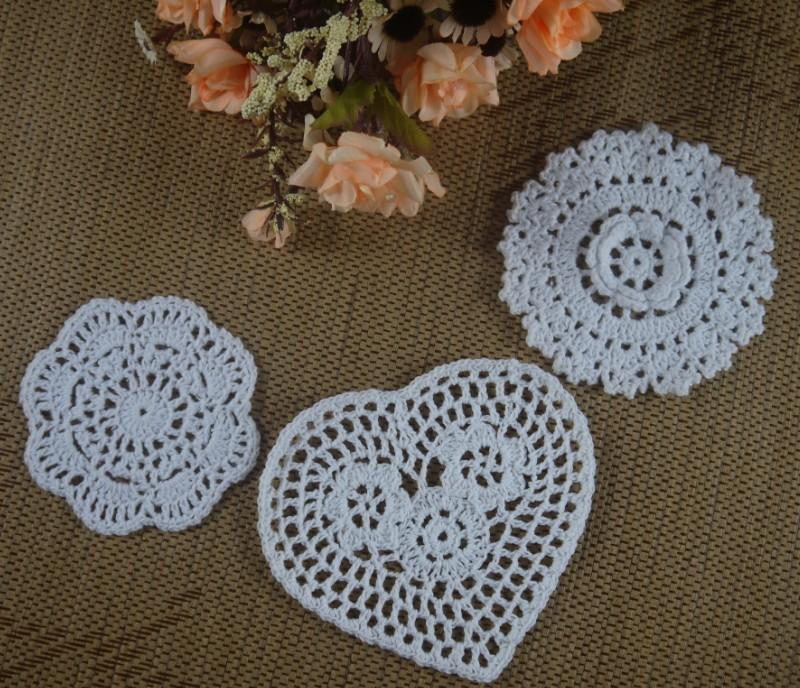 Free shipping wholesale 100% cotton lace hand made Crochet Doilies cup mat Natural color Round, Square Doily 30PCS/LOT 18-20cm